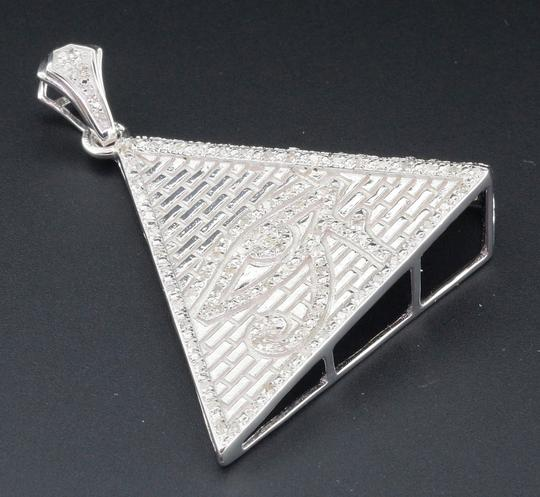 Jewelry For Less Diamond Eye of Ra Charm Pyramid Sterling Silver 0.60 Ct Pave Pendant Image 1