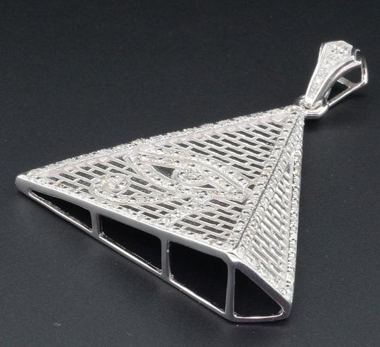 Jewelry For Less Diamond Eye of Ra Charm Pyramid Sterling Silver 0.60 Ct Pave Pendant Image 2
