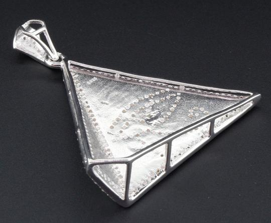 Jewelry For Less Diamond Eye of Ra Charm Pyramid Sterling Silver 0.60 Ct Pave Pendant Image 3
