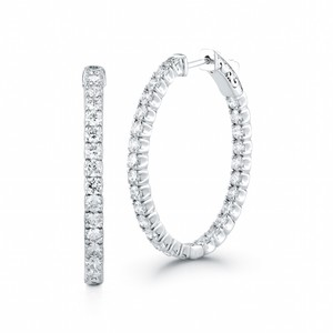 Gavriel's Jewelry Diamond Hoop Earrings Oval Inside And Out 2.70cts