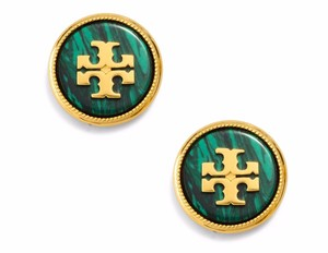 Tory Burch New Tory Burch Semi-Precious Malachite Green Stud Earrings T-Logo