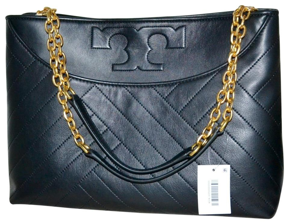 29d46678a9 Tory Burch Alexa Quilted Leather Monogram Fleming Tote in Black Image 0 ...