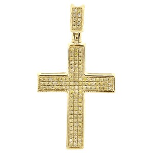 Jewelry For Less Yellow Diamond Cross Pendant Mens 10K Gold Pave Fashion Charm 0.30 Tcw