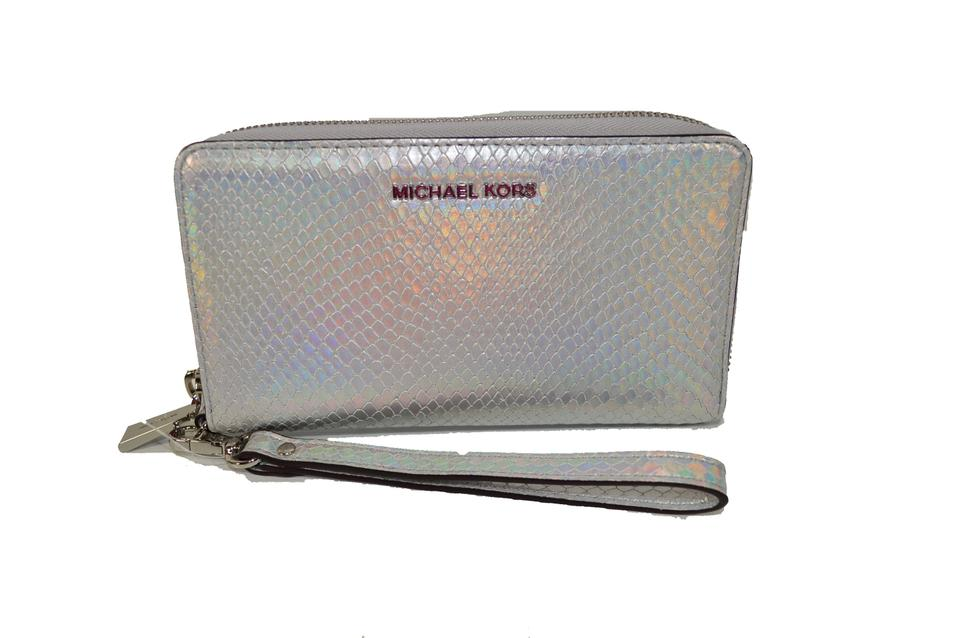8ab5e1e2499b Michael Kors Lg MF Python Emb Metallic Leather Phone Wristlet Image 0 ...