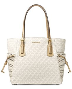 8dcd998fc44c52 Michael Kors Leather Voyager Leather Signature Tote in Vanilla