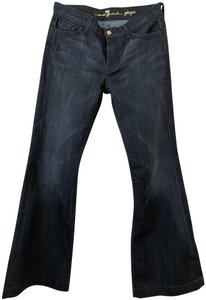 7 For All Mankind Denim Gold Hardware Comfortable Trouser/Wide Leg Jeans-Dark Rinse