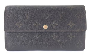Louis Vuitton #16608 Monogram Long Flap Wallet Pocket Card Case Coin Sarah