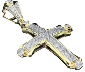 Jewelry For Less Diamond Domed Cross Pendant .925 Sterling Silver Round Charm 3/4 Tcw