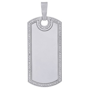 Jewelry For Less Stainless Steel Round Diamond Engravable Dog Tag Pendant Charm 0.60 Ct
