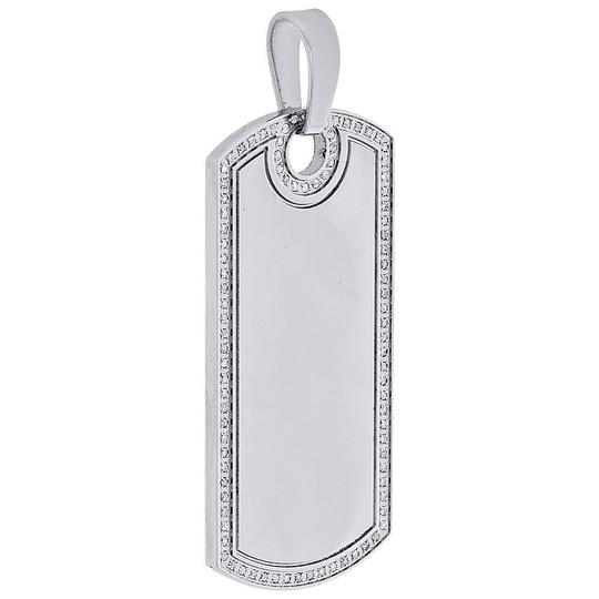 Jewelry For Less Stainless Steel Round Diamond Engravable Dog Tag Pendant Charm 0.60 Ct Image 1