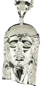 Jewelry For Less Sterling Silver Diamond Jesus Face Head Pendant Charm