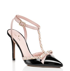 Kate Spade Patent Leather Studded Crystal Evening Black Pumps