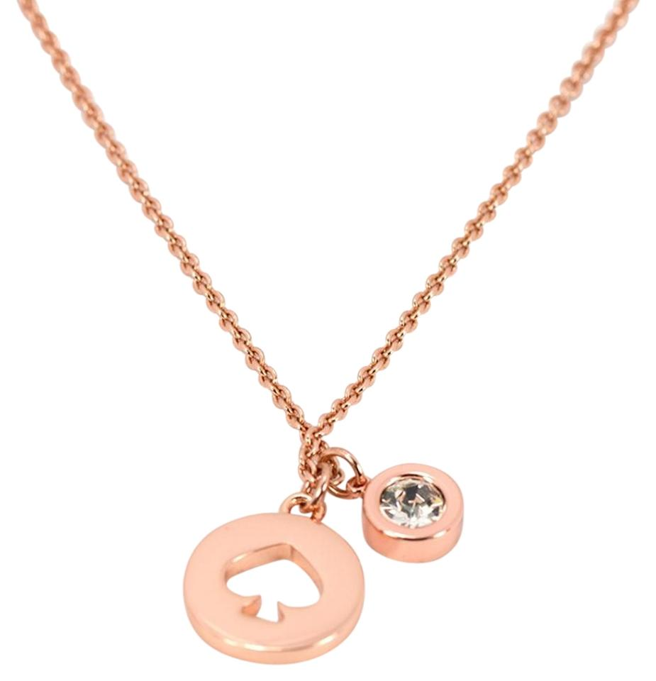 Kate Spade Clear/Rose Gold Spot Necklace - Tradesy