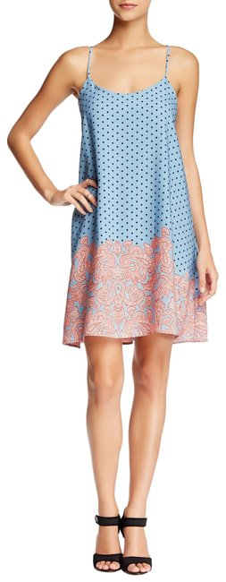 Item - Dots Blue Navy Pink Md8267 Short Casual Dress Size 2 (XS)