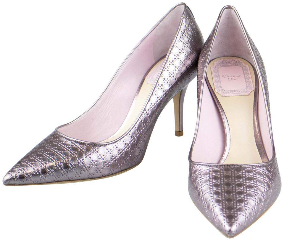 a523e05d256 Dior Mettaliic Rose  cherie Cannage  Heels Pumps Size EU 35 (Approx ...