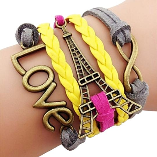 Preload https://item1.tradesy.com/images/multicolor-pink-and-yellow-antique-brass-love-eiffel-tower-infinity-leather-wrap-bracelet-2283295-0-0.jpg?width=440&height=440