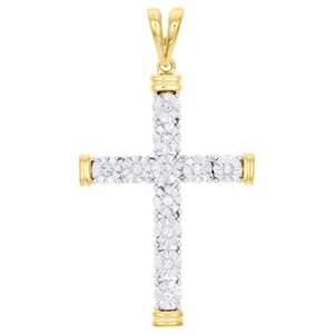 Jewelry For Less 10K Yellow Gold Diamond Cross Miracle Set Pendant Unisex Charm 1/5 CT