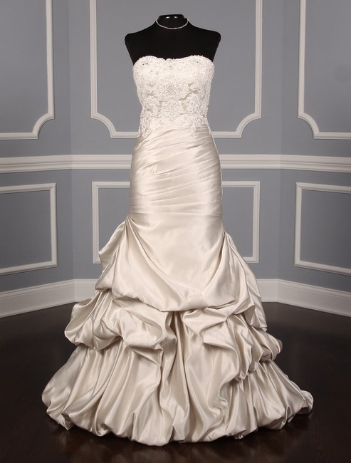 Item - Oyster Satin and Beaded Lace Vivienne 711 Formal Wedding Dress Size 8 (M)