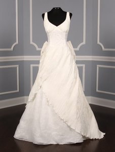St. Pucchi Ivory Silk Shantung and Embroidered Silk Organza Versailles Z110 Formal Wedding Dress Size 10 (M)