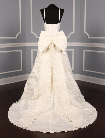 St. Pucchi Ivory Silk Shantung and Embroidered Silk Organza Versailles Z110 Formal Wedding Dress Size 10 (M) Image 6