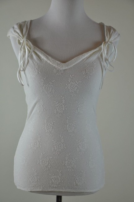 Preload https://item5.tradesy.com/images/white-sheer-lace-stretch-camisole-ribbon-blouse-tank-topcami-size-12-l-2283314-0-0.jpg?width=400&height=650