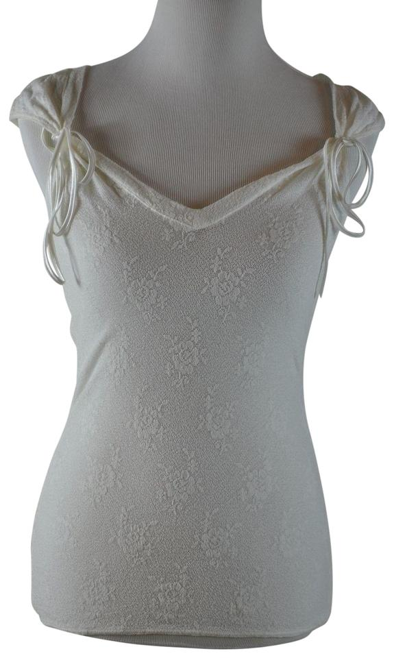 baa745956c White Sheer Lace Stretch Camisole Ribbon Blouse Tank Top Cami Size ...