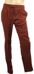 Gucci Women's Silk Trouser Pants Brown
