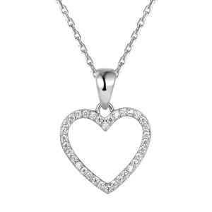 Master Of Bling Love Heart Women's Sterling Silver Pendant Gift Set