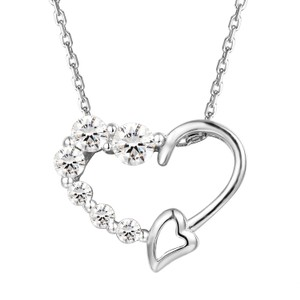 Master Of Bling Women's Solitaire Lab Diamonds Heart Love Small Pendant Set