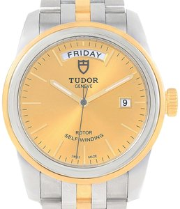 Tudor Tudor Glamour Day Date Steel Yellow Gold Mens Watch 56003 Box Papers