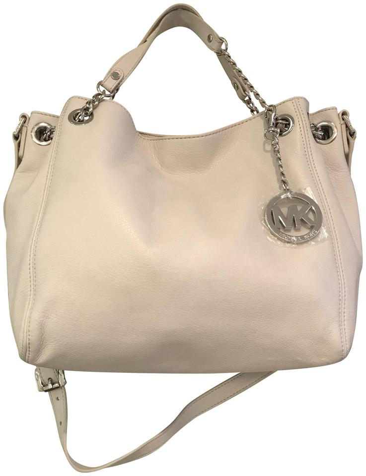 4708f027e0e3 Michael Kors Jet Set Chain Gathered Silver Convertible Satchel Off White Leather  Shoulder Bag