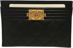 Chanel NWT Boy Card Holder In Black Caviar Leather With Matte Gold Hardware