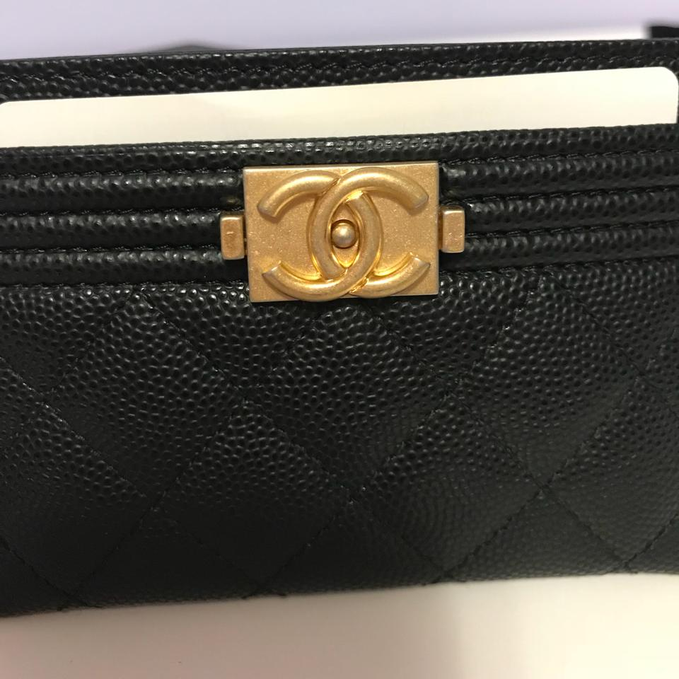 96cd667e Chanel Boy Card Holder In Black Caviar Leather with Matte Gold Hardware  Wallet