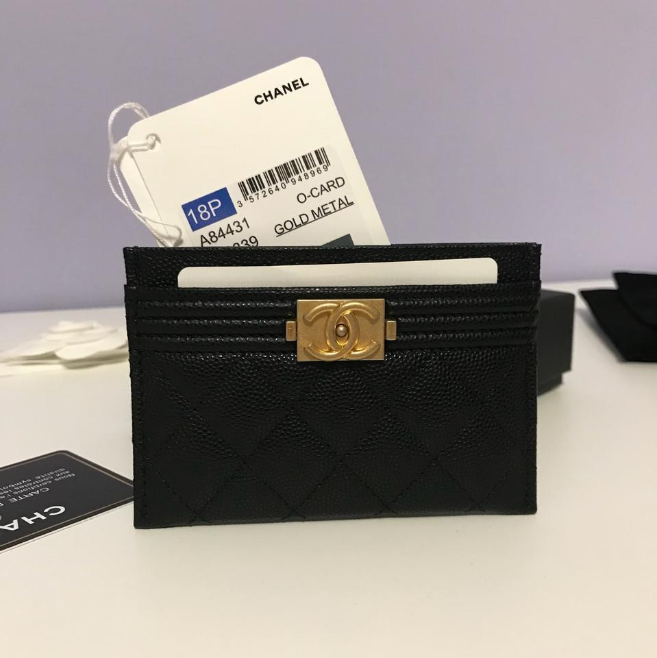 52756d69e0cd Chanel NWT Boy Card Holder In Black Caviar Leather With Matte Gold Hardware  Image 11. 123456789101112