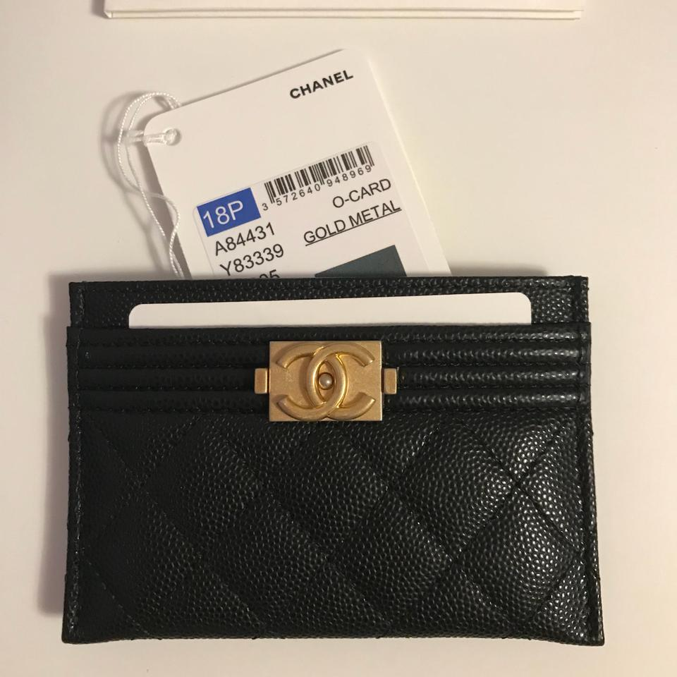 935fec50f84a Chanel NWT Boy Card Holder In Black Caviar Leather With Matte Gold Hardware  Image 11. 123456789101112