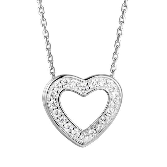 Master Of Bling Sterling Silver Solitaire Lab diamonds Double Heart Pendant Set Image 1