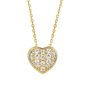 Master Of Bling 3D Puff Small Love Heart Pendant Chain Sterling Silver Set
