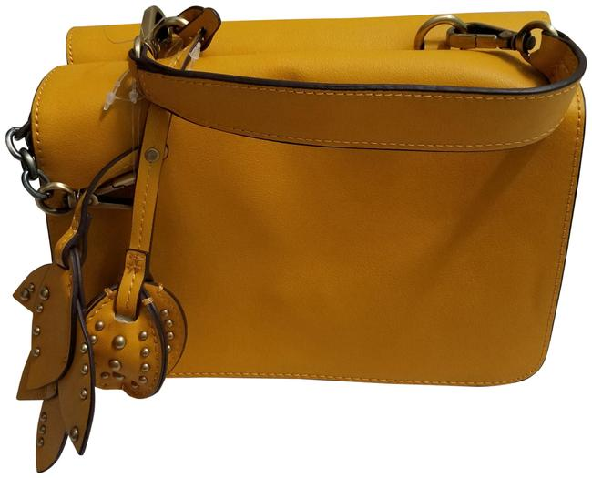 Item - Mini with Leaves Detail (4097) Yellow Polyurethane Cross Body Bag