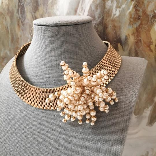 Dior RARE Gold Pearl Cluster Collar Necklace Image 3