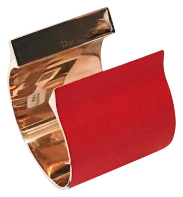 Item - Red & Gold Jersey Thick Open Cuff / Cuff Bracelet