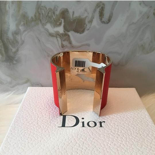 Dior Red & Gold Thick Open Cuff / Jersey Cuff Bracelet $1200 Image 2