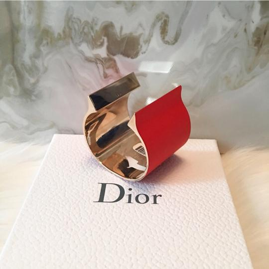 Dior Red & Gold Thick Open Cuff / Jersey Cuff Bracelet $1200 Image 6