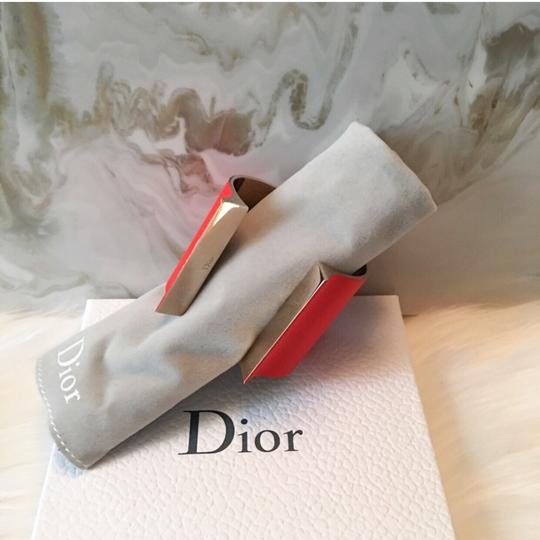 Dior Red & Gold Thick Open Cuff / Jersey Cuff Bracelet $1200 Image 7