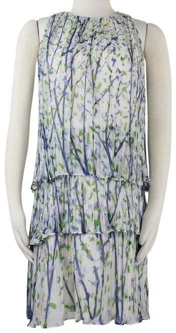 Item - Multicolor Sleeveless Silk Watercolor Floral Tiered Pleated A Line Mid-length Work/Office Dress Size 4 (S)