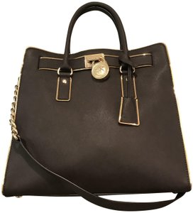 Michael Kors Large North South Metal Gold Mocha Tote in Coffee Brown