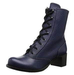 Chie Mihara Leather Lace-up Blue Boots