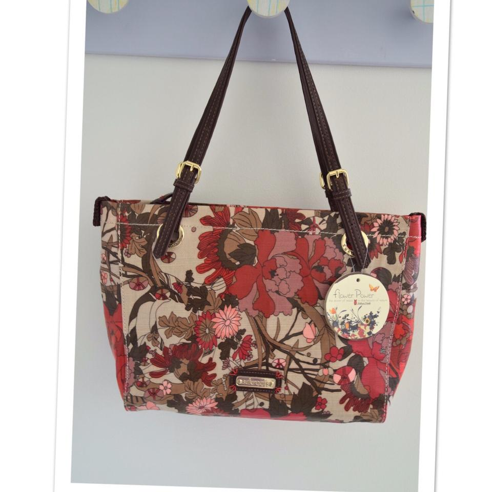 Sakroots Red Coated Canvas And Leather Flower Power Tote