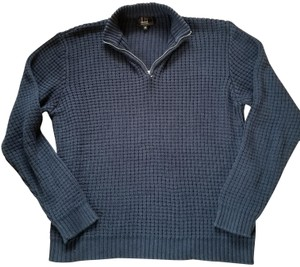 Alfred Dunhill Men's Navy Front Zip Cotton Sweater