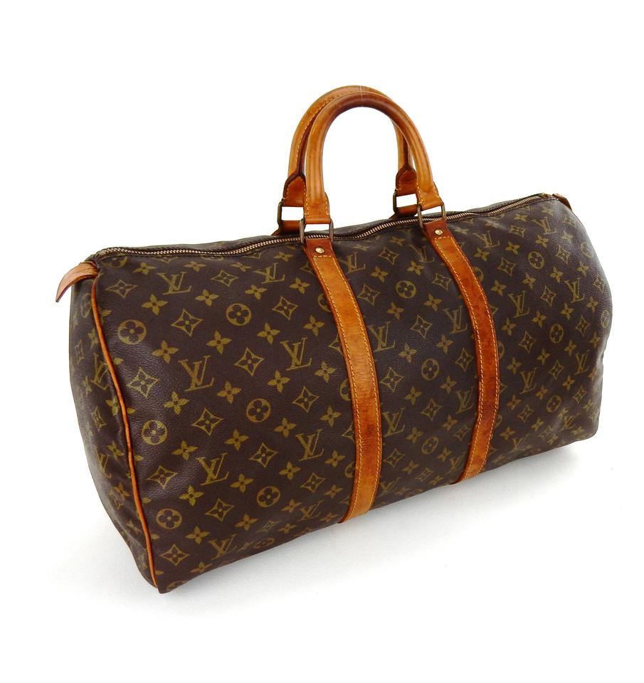 louis vuitton brown monogram canvas leather keepall 50 weekend travel bag tradesy. Black Bedroom Furniture Sets. Home Design Ideas