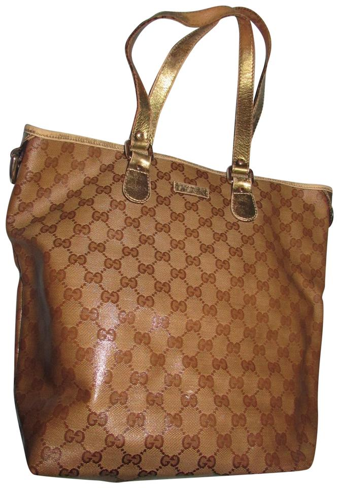 ca1a920a6bb Gucci Excellent Condition  hysteria  Sparkle Sparkle Logo Leather Accents  Tapered Medium Tote in ...